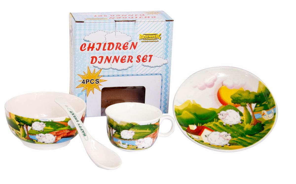 Rosenberg Набор детской посуды 879663807000163Набор детской посуды Rosenberg, 4 предмета: 1 глубокая тарелка d=15 см, 1 плоская тарелка d=18 см, 1 кружка 180 мл, 1 ложка 14 см Материал: керамика
