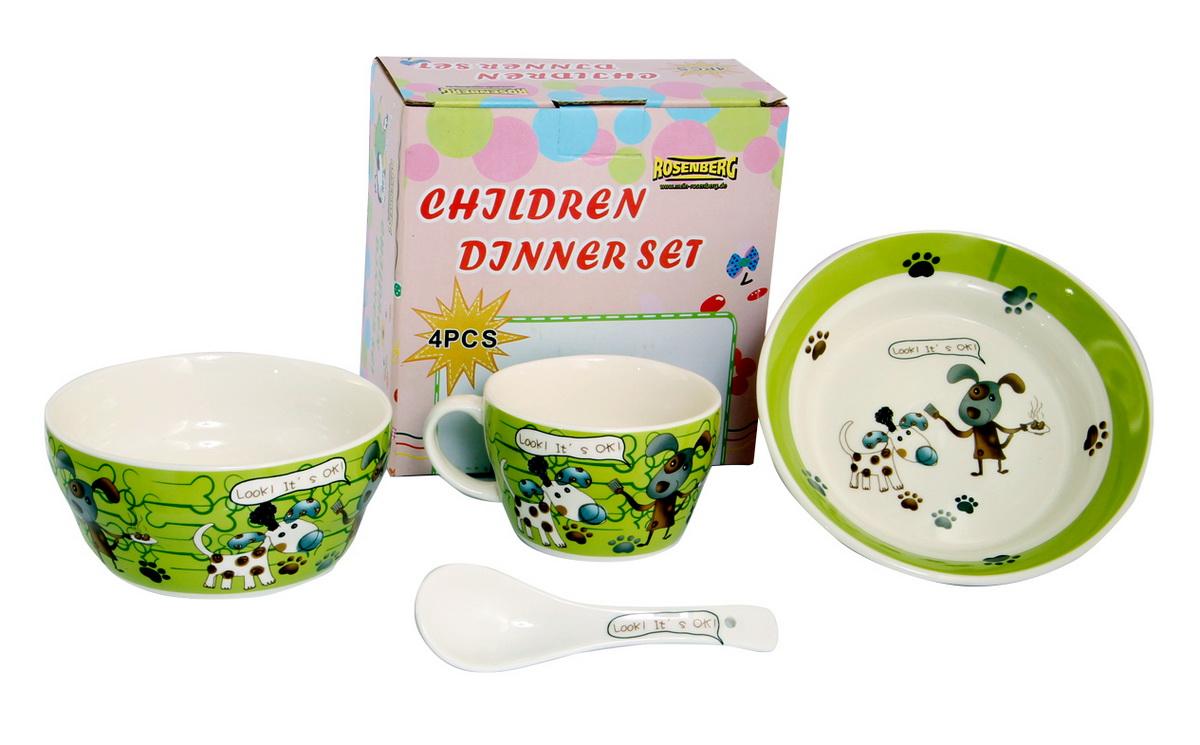 Rosenberg Набор детской посуды 879653807000162Набор детской посуды Rosenberg, 4 предмета: 1 глубокая тарелка d=15 см, 1 плоская тарелка d=18 см, 1 кружка 250 мл, 1 ложка 14 см Материал: керамика
