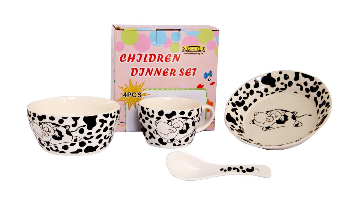 Rosenberg Набор детской посуды 879633807000160Набор детской посуды Rosenberg, 4 предмета: 1 глубокая тарелка d=15 см, 1 плоская тарелка d=18 см, 1 кружка 250 мл, 1 ложка 14 см Материал: керамика