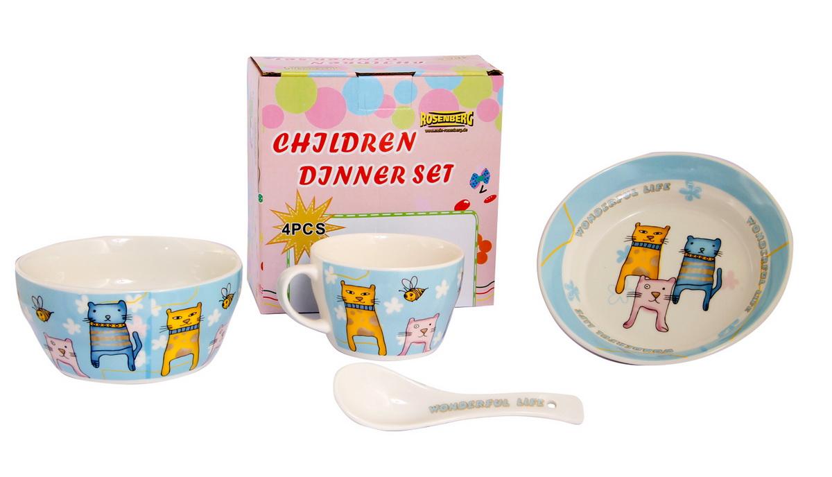 Rosenberg Набор детской посуды 879613807000158Набор детской посуды Rosenberg, 4 предмета: 1 глубокая тарелка d=15 см, 1 плоская тарелка d=18 см, 1 кружка 250 мл, 1 ложка 14 см Материал: керамика