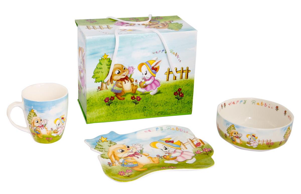 Rosenberg Набор детской посуды 87863807000156плоская тарелка 17.5 х 15 см, глубокая тарелка 12.5 х 12.5 см,300ml кружка 175ml