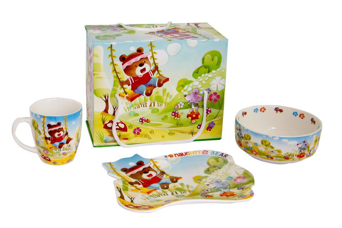 Rosenberg Набор детской посуды 87843807000155плоская тарелка 17.5 х 15 см, глубокая тарелка 12.5 х 12.5 см,300ml кружка 175ml
