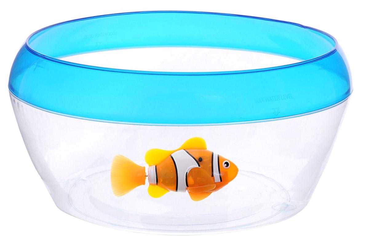 Robofish Интерактивная игрушка РобоРыбка Клоун с аквариумом2502Интерактивная игрушка Robofish РобоРыбка Клоун с аквариумом произведет большое впечатление на детей и их родителей. В набор входит небольшой прозрачный аквариум и фигурка интерактивной рыбки. Рыбка клоун при погружении в аквариум начинает плавать - опускаясь ко дну и поднимаясь к поверхности воды. После окончания игры рекомендуется вынимать игрушку из воды. Ваш ребенок будет в восторге от такого замечательного подарка! Рыбка работает от двух батареек типа LR44 (2 установлены в игрушку и 2 запасные).