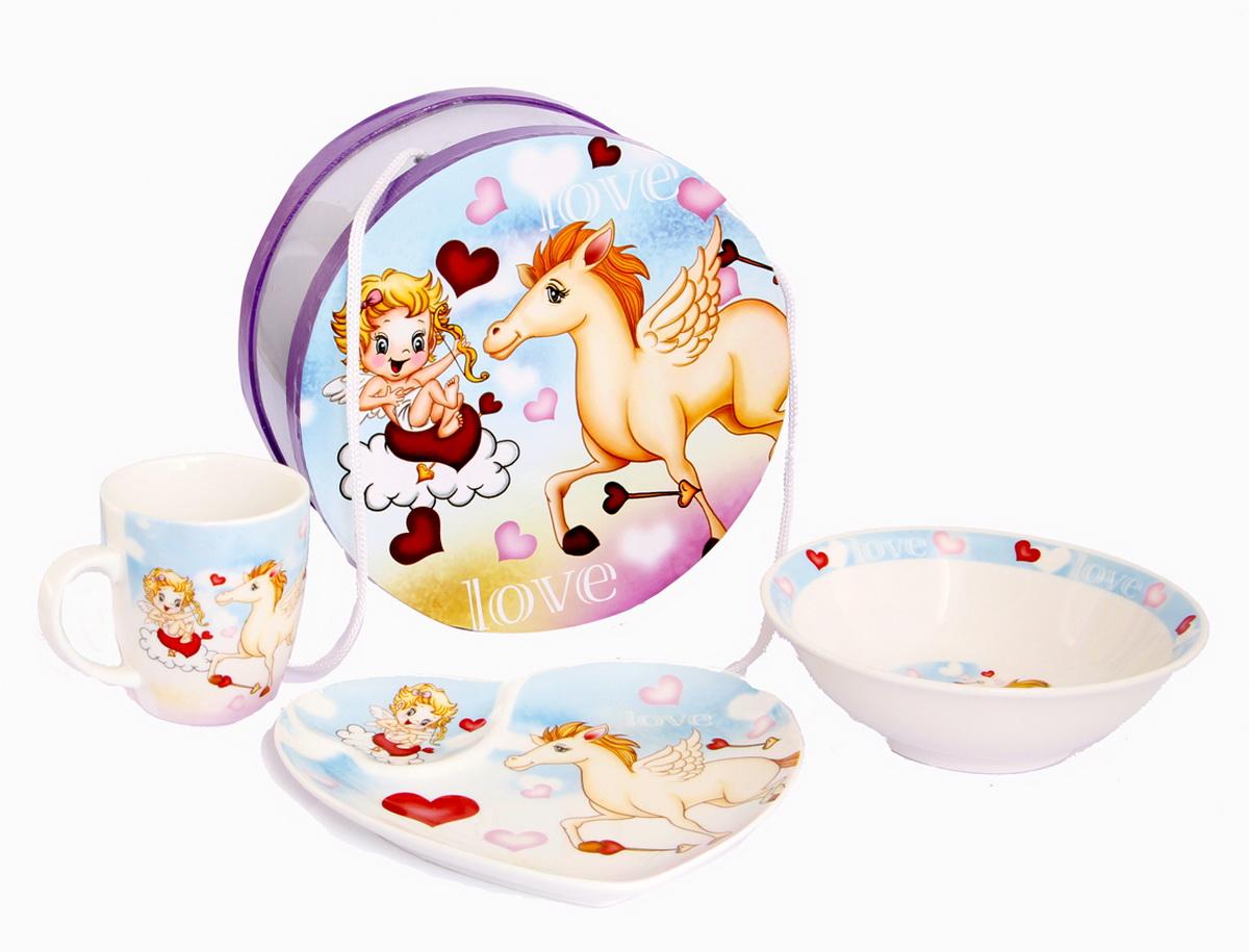 Rosenberg Набор детской посуды 87763807000143плоская тарелка 17.5 х 16 см, глубокая тарелка 15.5 х 15.5 х 5 см, кружка 180мл