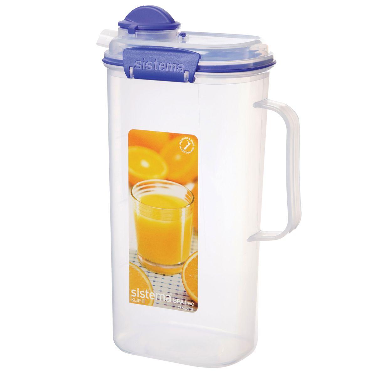 Кувшин для сока Sistema, 2 л1420Кувшин Klip It предназначен для хранения напитков. Контейнеры вкладываются один в другой для экономии места при хранении. Крышка с силиконовой прокладкой герметично закрывается что помогает дольше сохранить полезные свойства продуктов. Контейнер надежно закрывается клипсами, которые при необходимости можно заменить. Можно мыть в посудомоечной машине.