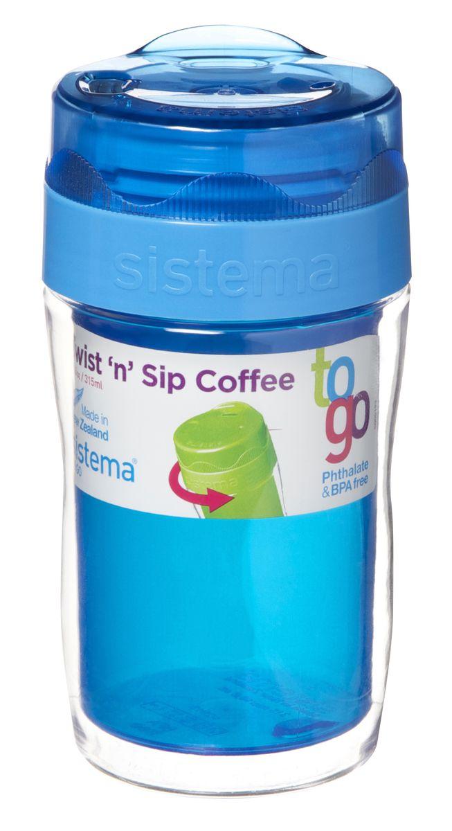 Термокружка Sistema Кофе с собой, цвет: синий, 315 мл21477С термокружкой To Go Вы сможете насладиться превосходным вкусом и ароматом горячего кофе в любое время. Благодаря двойным стенкам кружки вы не обожжётесь, держа её в руках. На крышке имеется прорезиненный обод, который способствует более герметичному закрыванию. Можно мыть в посудомоечной машине.
