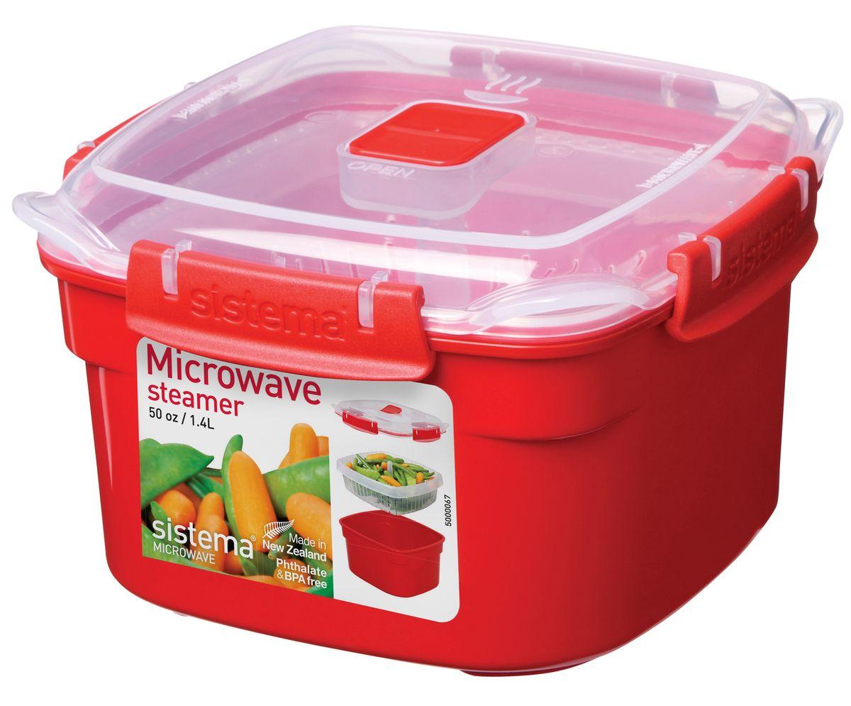 Контейнер Sistema Microwave, 1,4 л1101В контейнере Microwave вы с легкостью сможете не только разогреть пищу в СВЧ, но и приготовить ее. Просто налейте воды в базовый контейнер, поместите пищу в пластиковый дуршлаг, откройте на крышке клапан пароотвода и поместите все в микроволновую печь. Через несколько минут вы можете насладиться полезной пищей. Контейнер оснащен фиксирующимися зажимами - клипсами, которые при необходимости можно будет заменить. На крышке имеется прорезиненный обод, который способствует более герметичному закрыванию, в связи с чем продукты дольше сохраняют свои свойства. Можно мыть в посудомоечной машине.