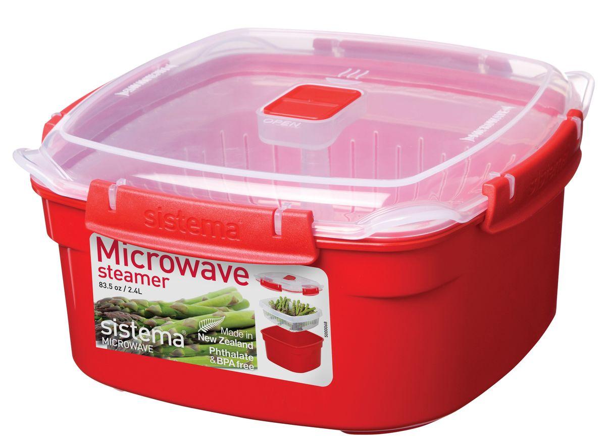 Контейнер Sistema Microwave, 2,4 л1102В контейнере Sistema Microwave вы с легкостью сможете не только разогреть пищу в СВЧ, но и приготовить ее. Просто налейте воды в базовый контейнер, поместите пищу в пластиковый дуршлаг, откройте на крышке клапан пароотвода и поместите все в микроволновую печь. Через несколько минут вы можете насладиться полезной пищей. Контейнер оснащен фиксирующимися зажимами - клипсами, которые при необходимости можно будет заменить. На крышке имеется прорезиненный обод, который способствует более герметичному закрыванию, в связи с чем продукты дольше сохраняют свои свойства. Можно мыть в посудомоечной машине.
