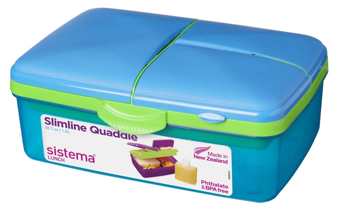 Ланчбокс 4-х секционный Sistema, с бутылкой, цвет: голубой, 1,5 л3965Контейнер Lunch имеет 4 отделения для хранения и транспортировки бутербродов, порционных салатов, мяса или рыбы, горячих и холодных блюд. Ланч-бокс для детей и взрослых позволяет взять даже сложный обед, из нескольких блюд, в одном компактном контейнере. На крышке имеется силиконовая прокладка, который способствует герметичному закрыванию. Контейнер надежно закрывается клипсами, которые при необходимости можно заменить. Можно мыть в посудомоечной машине.