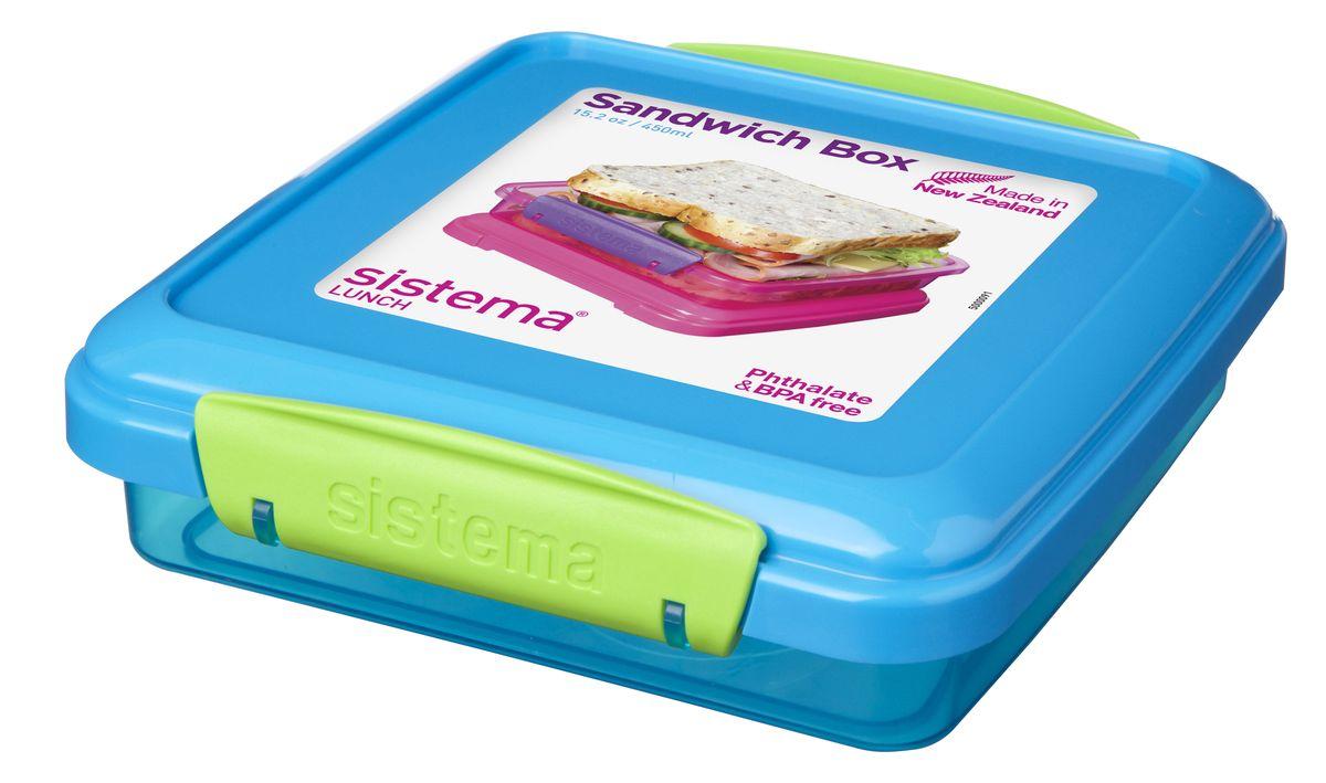 Контейнер для сэндвичей Sistema, цвет: голубой, 450 мл31646Контейнер Lunch удобен для хранения и транспортировки бутербродов, порционных салатов, мяса или рыбы, горячих и холодных блюд. Ланч-бокс для детей и взрослых позволяет взять даже сложный обед, из нескольких блюд, в одном компактном контейнере. Контейнер оснащен фиксирующимися зажимами - клипсами, которые при необходимости можно будет заменить. На крышке имеется прорезиненный обод, который способствует более герметичному закрыванию. Можно мыть в посудомоечной машине.