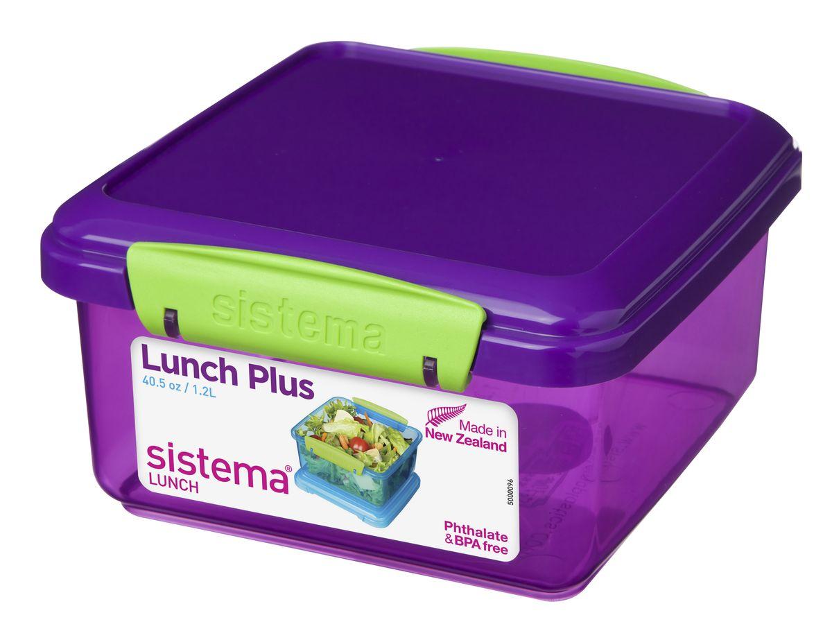 Контейнер Sistema, цвет: фиолетовый, 1,2 л31651Контейнер Lunch Plus удобен для хранения и транспортировки бутербродов, порционных салатов, мяса или рыбы, горячих и холодных блюд. Ланч-бокс для детей и взрослых позволяет взять даже сложный обед, из нескольких блюд, в одном компактном контейнере. Контейнер оснащен фиксирующимися зажимами - клипсами, которые при необходимости можно будет заменить.На крышке имеется прорезиненный обод, который способствует более герметичному закрыванию. Можно мыть в посудомоечной машине.