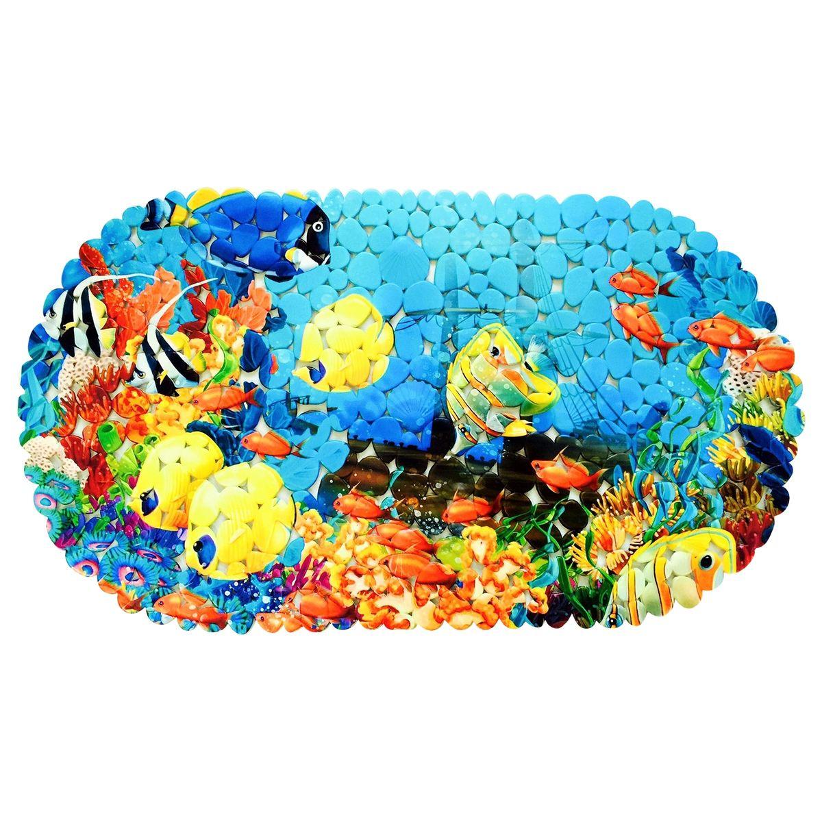 Коврик для ванной Tatkraft SPA Морское дно, противоскользящий, 69 x 39 см. 1890718907Противоскользящий коврик Tatkraft SPA Фотопринт обеспечит комфортное и безопасное купание и подойдёт как для малыша, так и для взрослого. • Нанесенная на них с помощью термопечати специальная фотопленка позволяет сделать рисунок у этих ковриков очень четким и объемным. • Присоски надежно прикрепляют коврик ко дну ванны, душевой или к полу в ванной комнате и не дают ему скользить. • Специальное рельефное покрытие препятствует скольжению ног по коврику.
