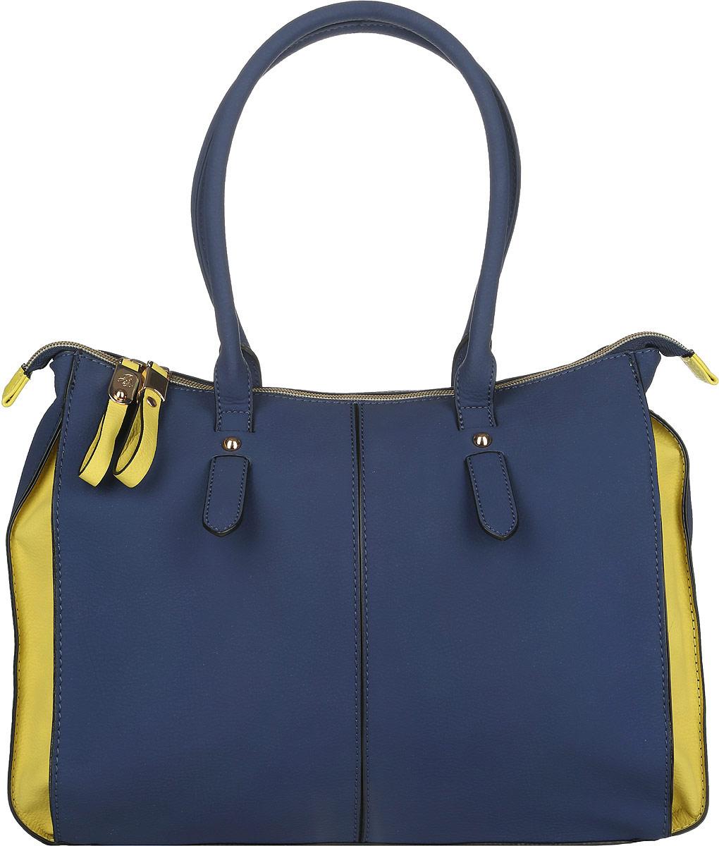 Сумка женская Jane Shilton, цвет: темно-синий, желтый. 20552055navyСтильная женская сумка Jane Shilton выполнена из искусственной кожи с фактурным тиснением. Изделие имеет одно основное отделение, разделенное пополам карманом-средником на застежке-молнии. Закрывается изделие на застежку-молнию. Внутри находятся прорезной карман на застежке-молнии и накладной открытый карман. Снаружи, на задней стенке расположен прорезной карман на застежке-молнии. Модель оснащена двумя удобными ручками. Роскошная сумка внесет элегантные нотки в ваш образ и подчеркнет ваше отменное чувство стиля.