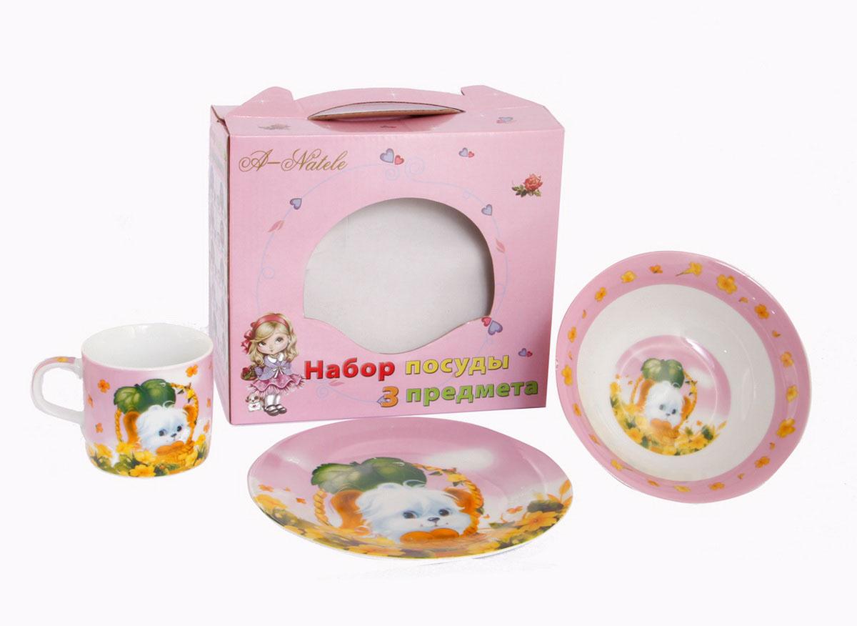 Rosenberg Набор детской посуды 87623807000138плоская тарелка d=18см, глубокая тарелка d=15см, кружка 200мл