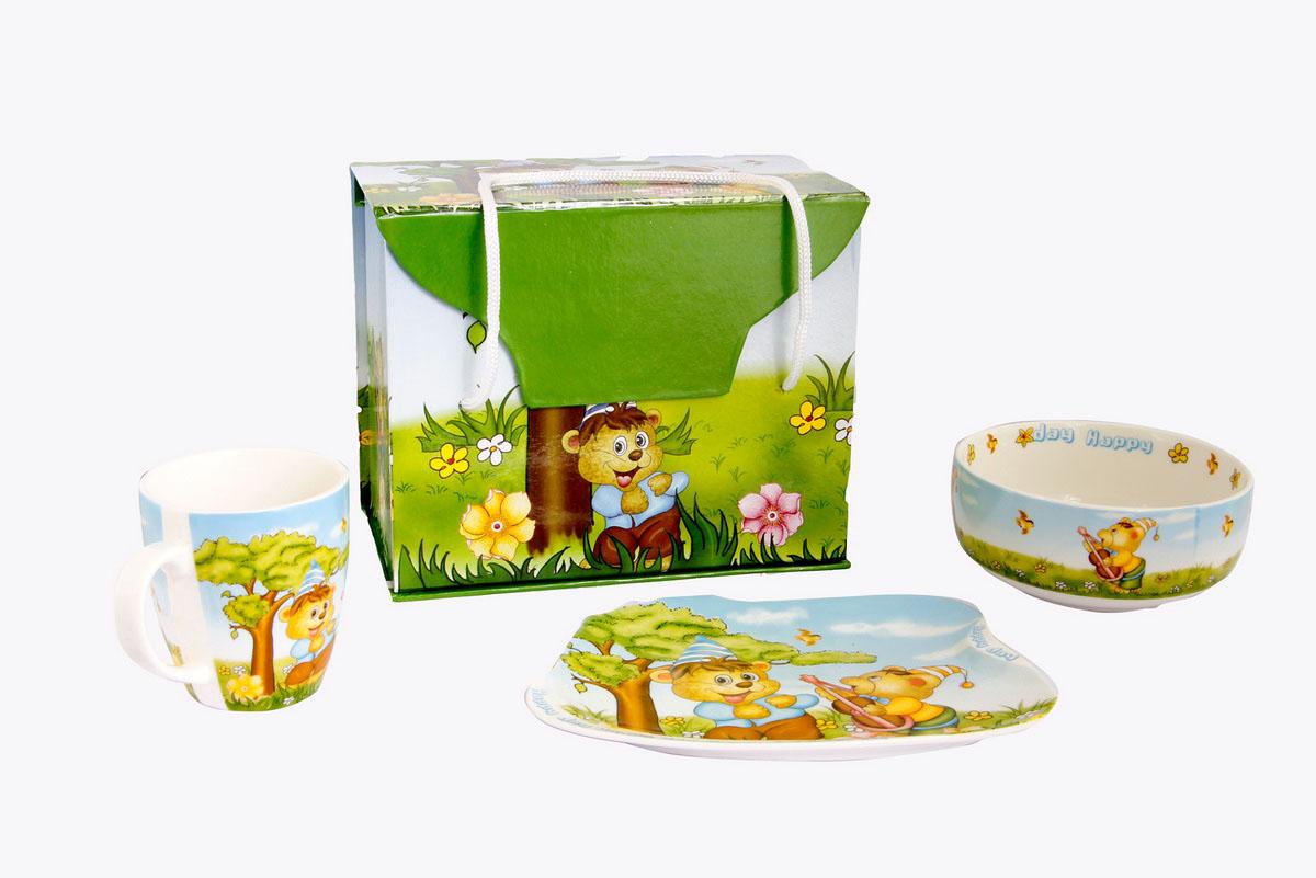 Rosenberg Набор детской посуды 87743807000141плоская тарелка 19 х 14 см, глубокая тарелка 12.3 х 12.3 х 5.5 см,300мл, кружка 180мл
