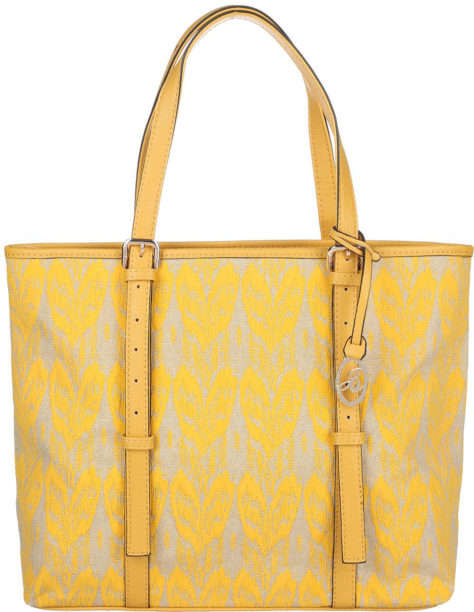 Сумка женская Jane Shilton, цвет: желтый, слоновая кость. 20802080yellowСтильная женская сумка Jane Shilton, выполненная из искусственной кожи и текстиля, оформлена оригинальным принтом и дополнена фирменным брелоком. Изделие имеет одно основное отделение, закрывающееся на застежку-молнию. Внутри находятся накладной открытый карман и мягкий карман для планшета или небольшого ноутбука, закрывающийся на хлястик с застежкой- кнопкой. Снаружи, на задней стенке расположен прорезной карман на застежке-молнии. Модель оснащена двумя удобными ручками. Роскошная сумка внесет элегантные нотки в ваш образ и подчеркнет ваше отменное чувство стиля.