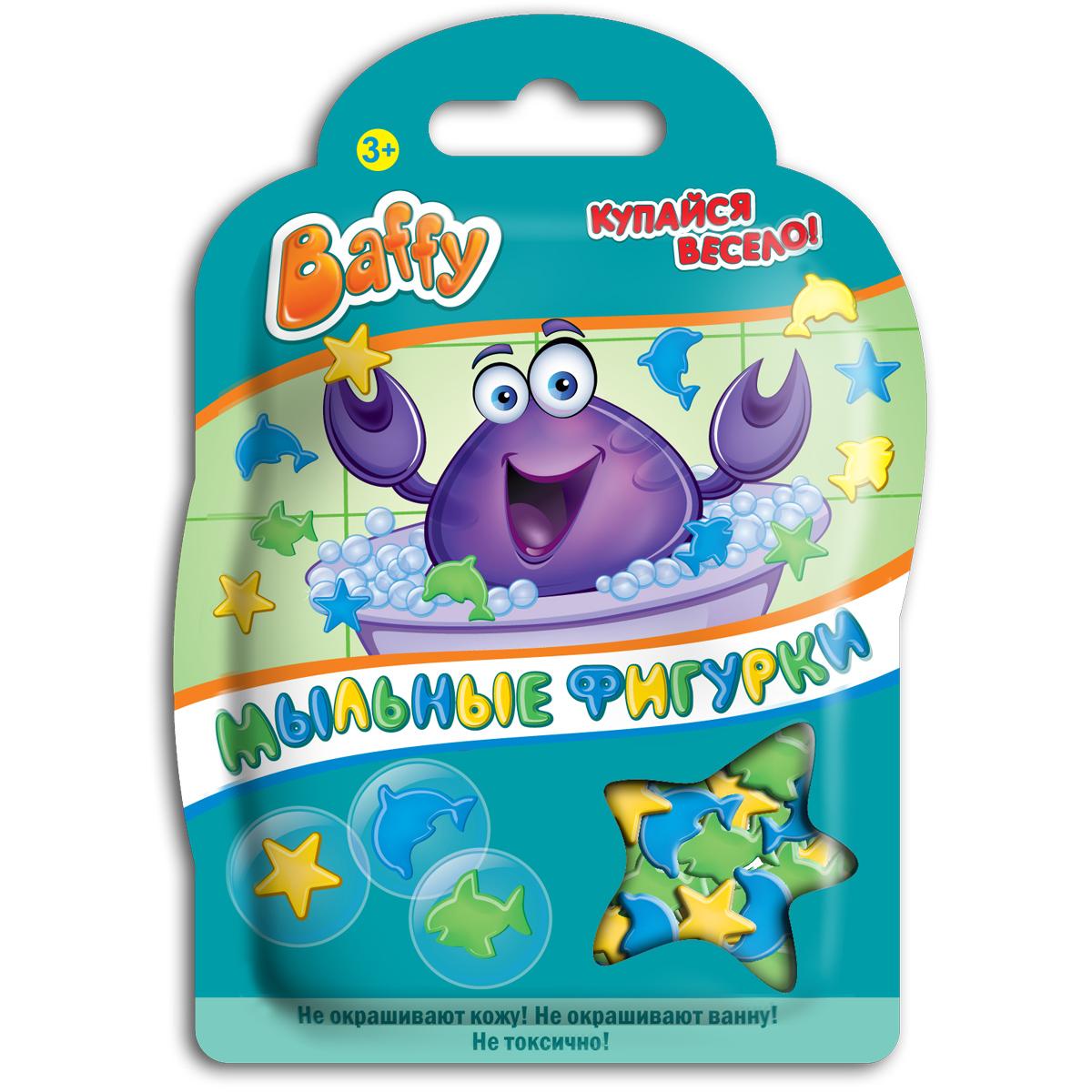 Baffy Мыльные фигурки цвет зеленый синий желтыйD0103Мыльные фигурки Baffy превратят купание в ванне в интересную, увлекательную игру. Фигурки можно клеить на детскую кожу, украшать стенку ванны, а также высыпать в воду и играть с ними. Фигурки хорошо мылятся и не окрашивают кожу и ванну. Безопасны для кожи ребенка. Вес: 8 гр.