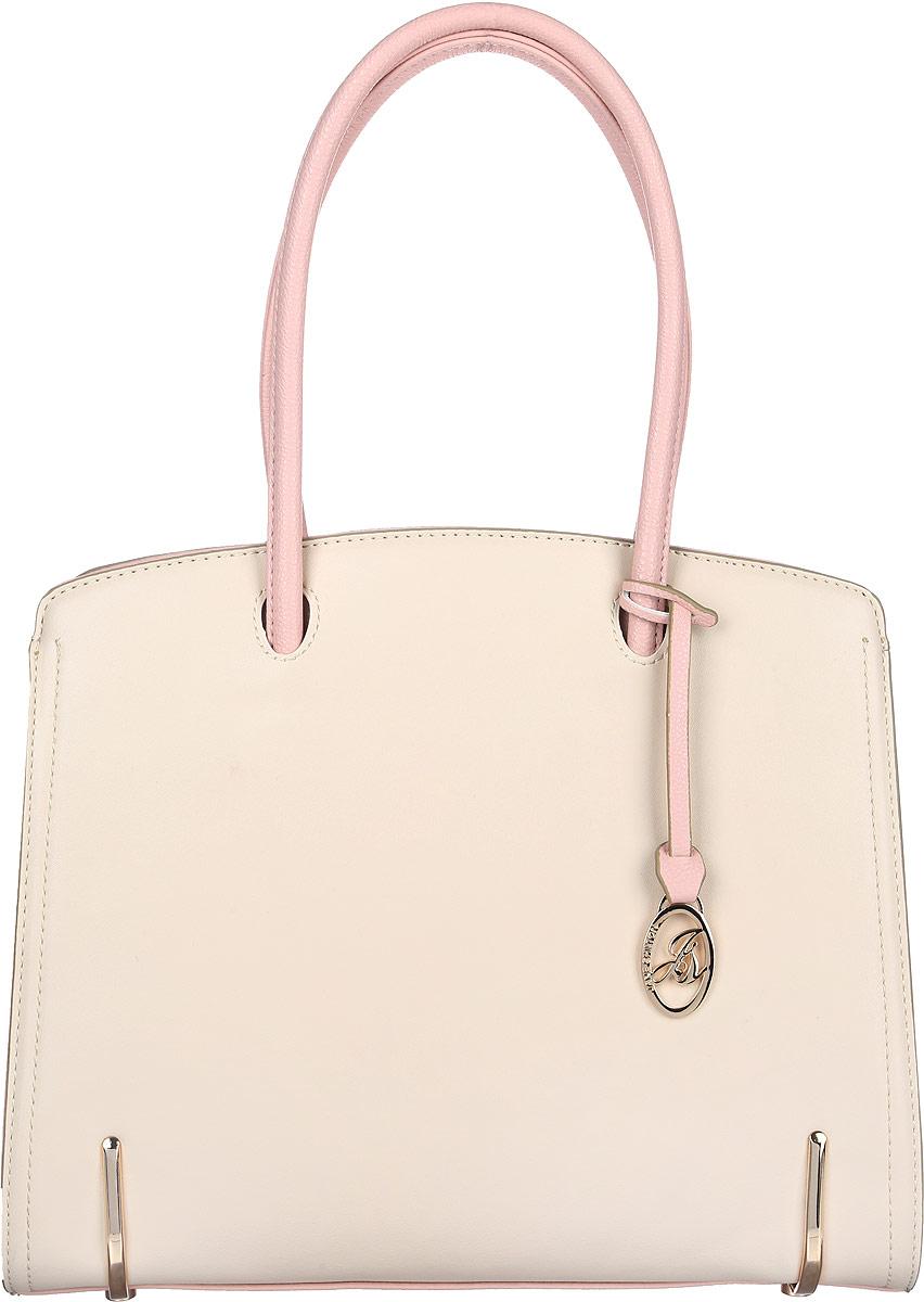 Сумка женская Jane Shilton, цвет: молочный, розовый. 20712071ivСтильная женская сумка Jane Shilton выполнена из искусственной кожи и дополнена фирменным брелоком. Изделие имеет одно основное отделение, разделенное пополам карманом-средником на застежке-молнии. Закрывается сумка на застежку-молнию. Внутри находятся прорезной карман на застежке-молнии и накладной открытый карман. Снаружи, на задней стенке расположен прорезной карман на застежке-молнии. Модель оснащена двумя удобными ручками. Основание изделия защищено от повреждений металлическими ножками. Роскошная сумка внесет элегантные нотки в ваш образ и подчеркнет ваше отменное чувство стиля.