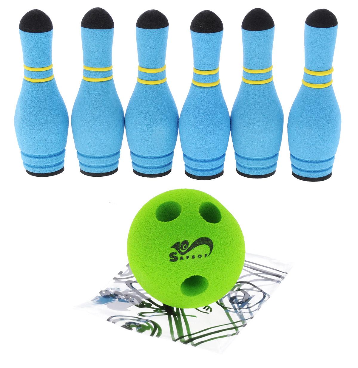 Safsof Игровой набор Мини-боулинг цвет голубой салатовыйMBB-05(B)_голубой, салатовыйИгровой набор Safsof Боулинг, изготовленный из вспененной резины, состоит из шести кеглей и шара. Он безопасен и мягок, это обеспечивает безопасность ребенку. Суть игры в боулинг - сбить шаром максимальное количество кеглей. Число игроков и количество туров - произвольное. Очки, набранные с каждым броском мяча, рассматриваются как количество сбитых кегель. Расстояние, с которого совершается бросок, определяется игроками. Каждый игрок имеет право на два броска в одной рамке (рамка - треугольник, на поле которого выстраиваются кегли перед каждым первым броском очередного игрока). Бросок, при котором все кегли сбиты, называется страйк и обозначается как Х. Если все кегли сбиты первым броском, второй бросок не требуется: рамка считается закрытой. Призовые очки за страйк - это сумма кеглей, сбитых игроком следующими двумя бросками. Выигрывает тот игрок, который в сумме набирает больше очков. Набор поставляется в удобном пластиковом рюкзаке.
