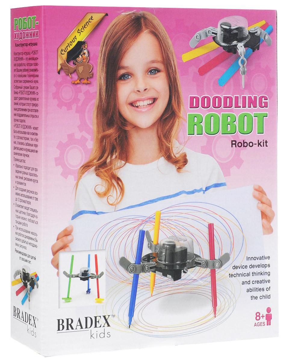 Bradex Конструктор Робот-художникDE 0119Конструктор Bradex Робот-художник - это инновационная разработка, которая позволит вашему ребенку ознакомиться с новейшими техническими аспектами современной науки. Собранный руками вашего ребенка Робот-художник создаст удивительные кружева из линий, которые станут прекрасным дополнением при изготовлении поздравительных открыток и прочих поделок. Робот-художник может быть использован как в комплекте с фломастерами, так и без них, становясь забавным передвигающимся и кружащимся механическим паучком. Преимущества: идеально подходит для проведения ровных параллельных линий, рисования кругов и орнаментов. Для создания рисунков возможно использование от 3 до 12 фломастеров. В комплект входят специальные щеточки, благодаря которым можно любоваться танцами робота. При использовании нескольких роботов одновременно вы сможете добиться неподражаемых рисунков. Необходимо купить 1 батарейку типа АА (не входит в комплект).