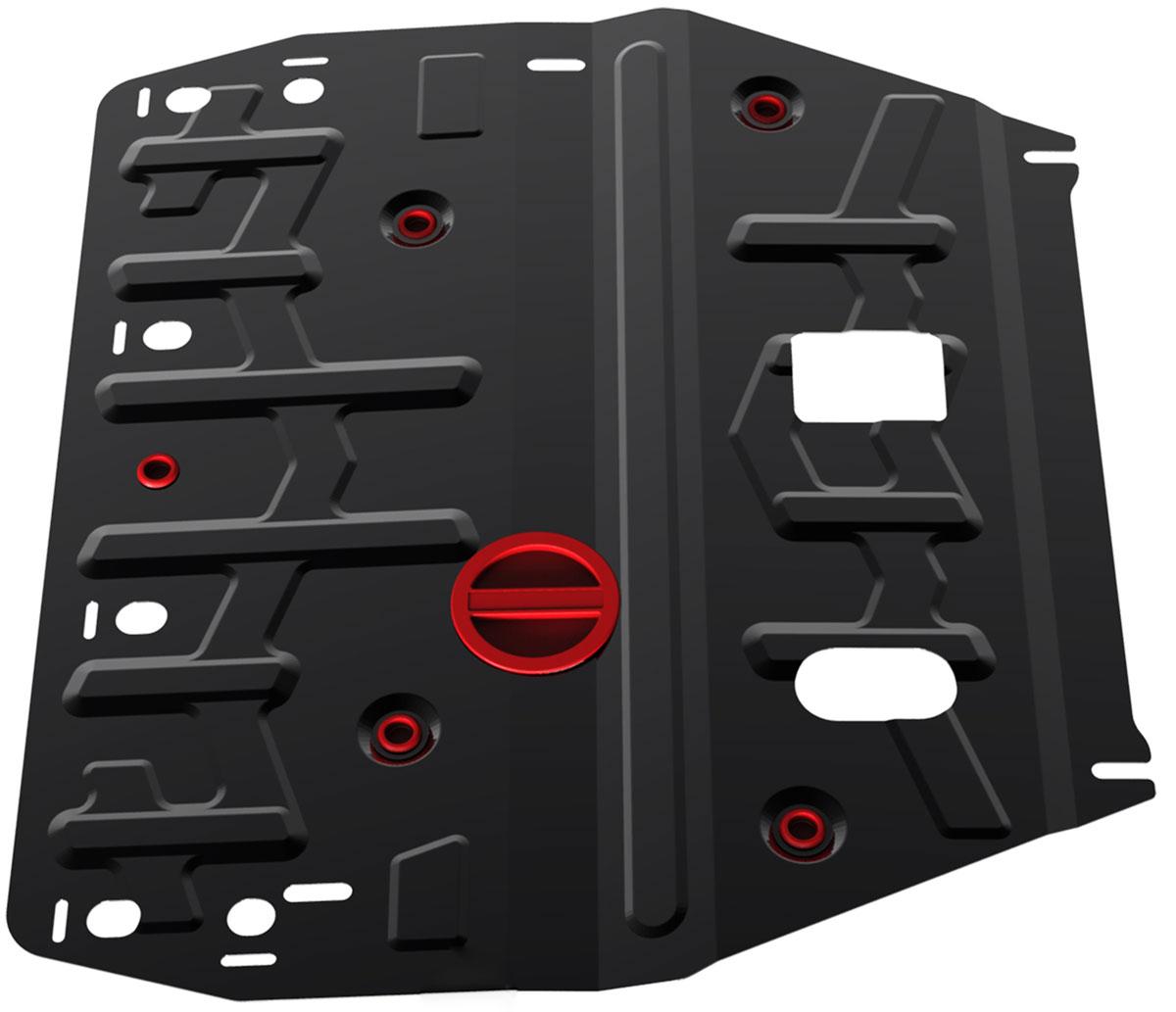 Защита картера и КПП Автоброня, для Hyundai i40. 111.02342.1111.02342.1Технологически совершенный продукт за невысокую стоимость. Защита разработана с учетом особенностей днища автомобиля, что позволяет сохранить дорожный просвет с минимальным изменением. Защита устанавливается в штатные места кузова автомобиля. Глубокий штамп обеспечивает до двух раз больше жесткости в сравнении с обычной защитой той же толщины. Проштампованные ребра жесткости препятствуют деформации защиты при ударах. Тепловой зазор и вентиляционные отверстия обеспечивают сохранение температурного режима двигателя в норме. Скрытый крепеж предотвращает срыв крепежных элементов при наезде на препятствие. Шумопоглощающие резиновые элементы обеспечивают комфортную езду без вибраций и скрежета металла, а съемные лючки для слива масла и замены фильтра - экономию средств и время. Конструкция изделия не влияет на пассивную безопасность автомобиля (при ударе защита не воздействует на деформационные зоны кузова). Со штатным крепежом. В комплекте инструкция по...