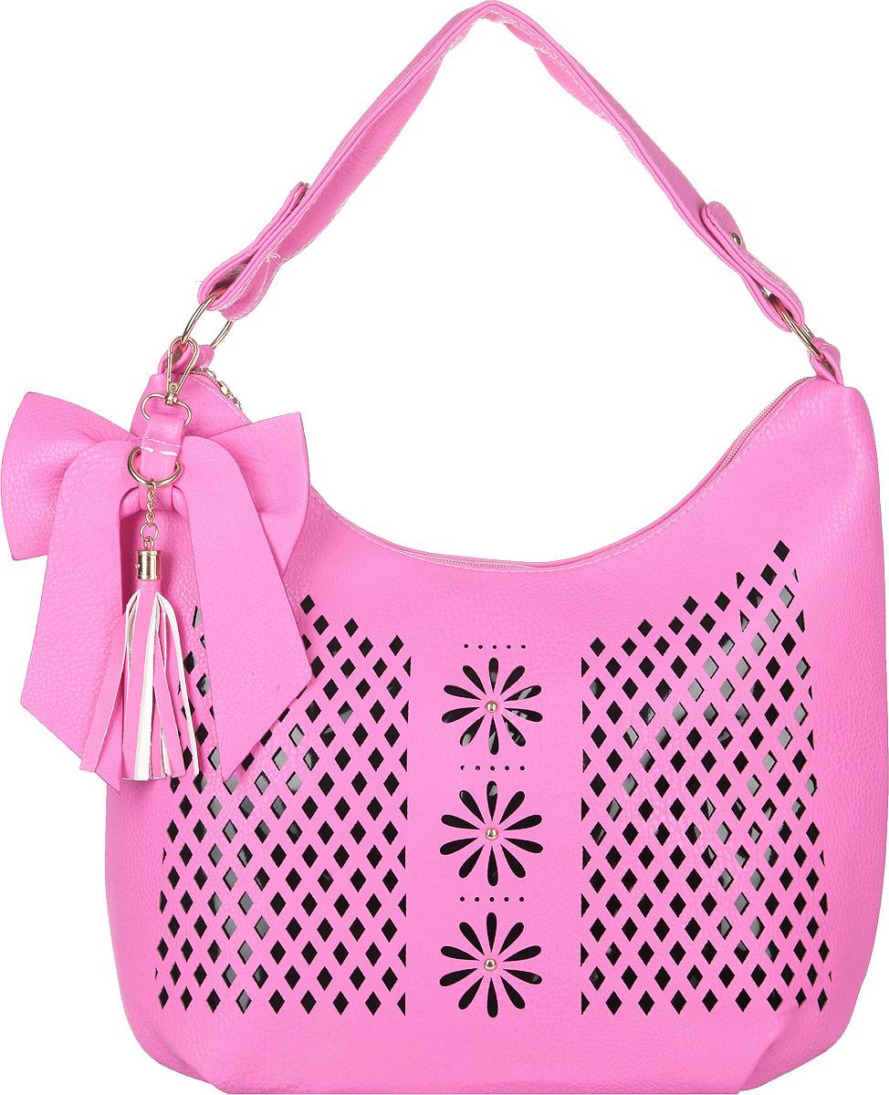 Сумка женская Flioraj, цвет: розовый, черный. 0005114300051143Стильная женская сумка Flioraj выполнена из искусственной кожи. Лицевая сторона оформлена декоративной перфорацией. Изделие имеет одно основное отделение, разделенное пополам карманом-средником на застежке-молнии. Закрывается изделие на застежку-молнию. Внутри находятся прорезной карман на застежке-молнии и накладной открытый карман. Снаружи, на задней стенке расположен прорезной карман на застежке-молнии. Модель оснащена одной ручкой и дополнена съемным декоративным брелоком в виде бантика с кисточкой. Основание изделия защищено от повреждений металлическими ножками. Роскошная сумка внесет элегантные нотки в ваш образ и подчеркнет ваше отменное чувство стиля.