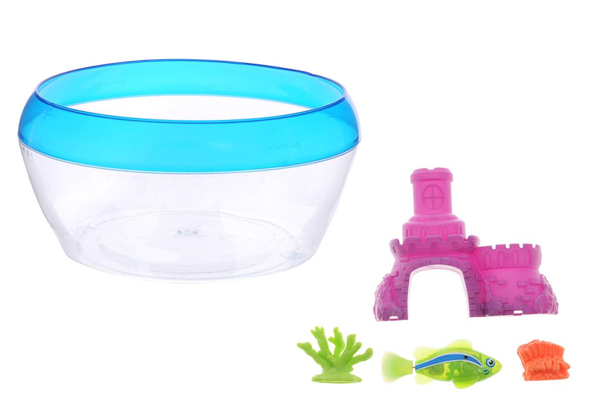 Robofish Интерактивная игрушка РобоРыбка с аквариумом замком и кораллами цвет фиолетовый2533Интерактивная игрушка Robofish РобоРыбка с аквариумом замком и кораллами представляет собой инновационную высокотехнологичную игрушку, которая активируется в воде. Игрушка имитирует повадки и движения настоящей маленькой рыбки. Может двигаться в пяти направлениях благодаря электромагнитному мотору. В набор также входят аквариум, замок и два коралла. Когда РобоРыбка будет погружена в емкость с водой, она начнет плавать, опускаться и подниматься к поверхности воды. Такую игрушку ребенок сможет брать с собой в ванну для игры или просто наблюдать за ее повадками в аквариуме. Яркая расцветка в сочетании с техническими характеристиками делает игрушку уникальной и привлекательной для малышей. Рыбка работает от двух батареек типа LR44 (2 вставлены в игрушку и 2 запасные).