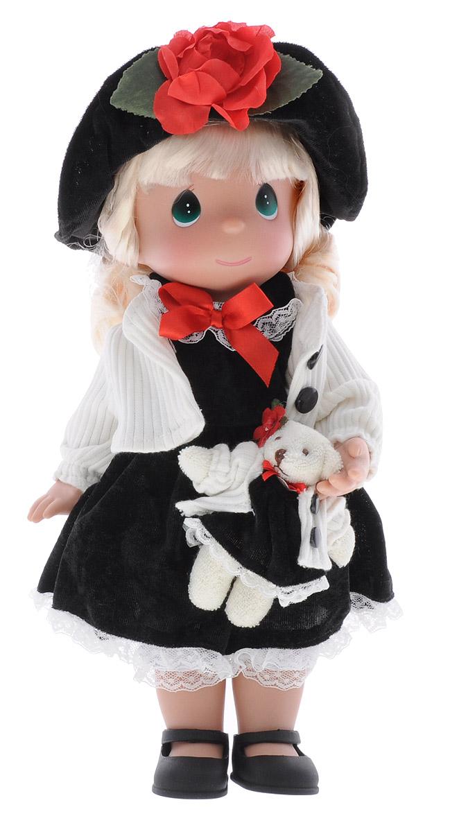 Precious Moments Кукла Ты мой друг4576Коллекция кукол Precious Moments ростом выше 30 см насчитывает на сегодняшний день более 600 видов. Куклы изготавливаются из качественного, безопасного материала и имеют пять базовых точек артикуляции. Каждый год в коллекцию добавляются все новые и новые модели. Каждая кукла имеет свой неповторимый образ и характер. Она может быть подарком на память о каком-либо событии в жизни. Куклы выполнены с любовью и нежностью, которую дарит нам известная волшебница - создатель кукол Линда Рик! Кукла Ты мой друг одета в черное платье и белую кофту. Под платьем надеты белые панталоны, на ногах куклы - черные туфельки. Вся одежда съемная. На голове куклы - черная шляпа, украшенная красным цветком. В руках она держит мягкую игрушку - медвежонка. На милом личике куклы большие зеленые глаза. Игра с куклой разовьет в вашей малышке чувство ответственности и заботы. Порадуйте свою принцессу таким великолепным подарком!