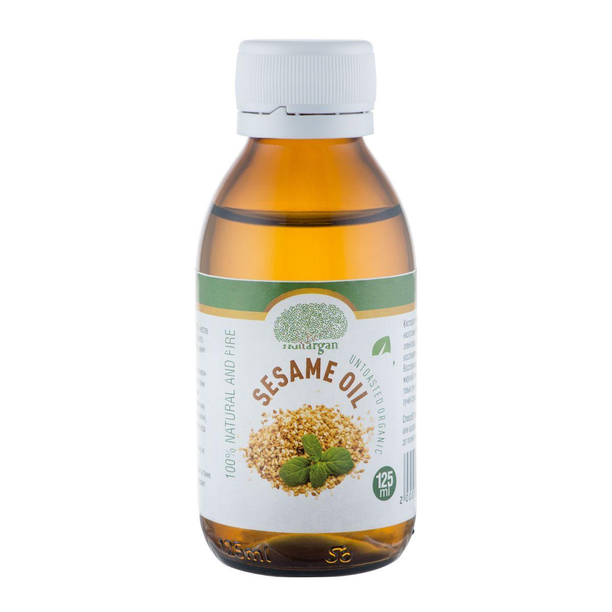 Huilargan Кунжутное масло, 100% натуральное, 125 мл2000000008714Масло кунжута (Sesame oil)- 100% чистое и натуральное масло, первого холодного отжима, без химической обработки. Кунжутное масло известно своими восстанавливающими и смягчающими свойствами, и также обладает антиоксидантными свойствами благодаря своему богатому антиоксидантному составу (витамин Е, селен, сезамолин, лецитин), что делает его идеальным средством для ухода за зрелой кожи. Масло кунжута быстро впитывается в кожу, не оставляя жирной пленки. Содержит магний, железо, фосфор, цинк, а также большое количество кальция, так же содержит витамины D, A, B1 – B3, C. Оно богато незаменимыми жирными кислотами (арахиновая, линолевая, олеиновая, пальмитиновая и стеариновая), восстанавливает и смягчает ткани кожи. Восстановливает и питает кожу, не оставляя жирной пленки. Поглощает ультрафиолетовые лучи, он используется для защиты от лучей солнца.