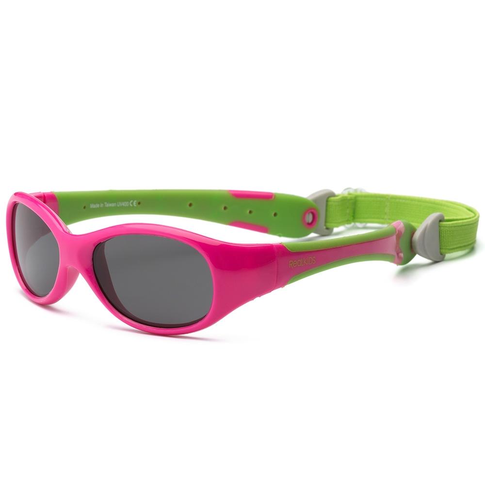 Real Kids Shades Очки солнцезащитные детские от 0 месяцев цвет розовый салатовый0EXPCPLMБезопасные солнцезащитные очки для детей с рождения Real Kids Shades 0+ 100% защита детских глаз от ультрафиолетовых лучей (UVA и UVB). Гибкая оправа Flex FitТМ, с дужками обтекаемой формы снижает до минимума риск повреждений детских глаз при одевании. Очки не сломаются, если ребенок случайно сядет на них, или потянет дужки в разные стороны Форма очков минимизирует воздействие периферийного света. Ударопрочные, травмобезопасные поликарбонатные линзы. Регулируемый, эластичный, съемный ремешок в комплекте. Очки хорошо держатся и не создают неудобств ребенку. Дети в очках Реал Кидс могут даже спать. Созданы с учетом подвижного образа жизни ребенка, Отдельное внимание уделено тому, чтобы очки хорошо сидели. Малыши могут кататься на качелях, висеть вверх ногами, плавать и играть без боязни того, что очки слетят в самый неподходящий момент. Безопасность: не содержат свинец, бисфенол-А, фталаты. Соответствуют всем международным нормам безопасности EC, Австралии, Америки, России.