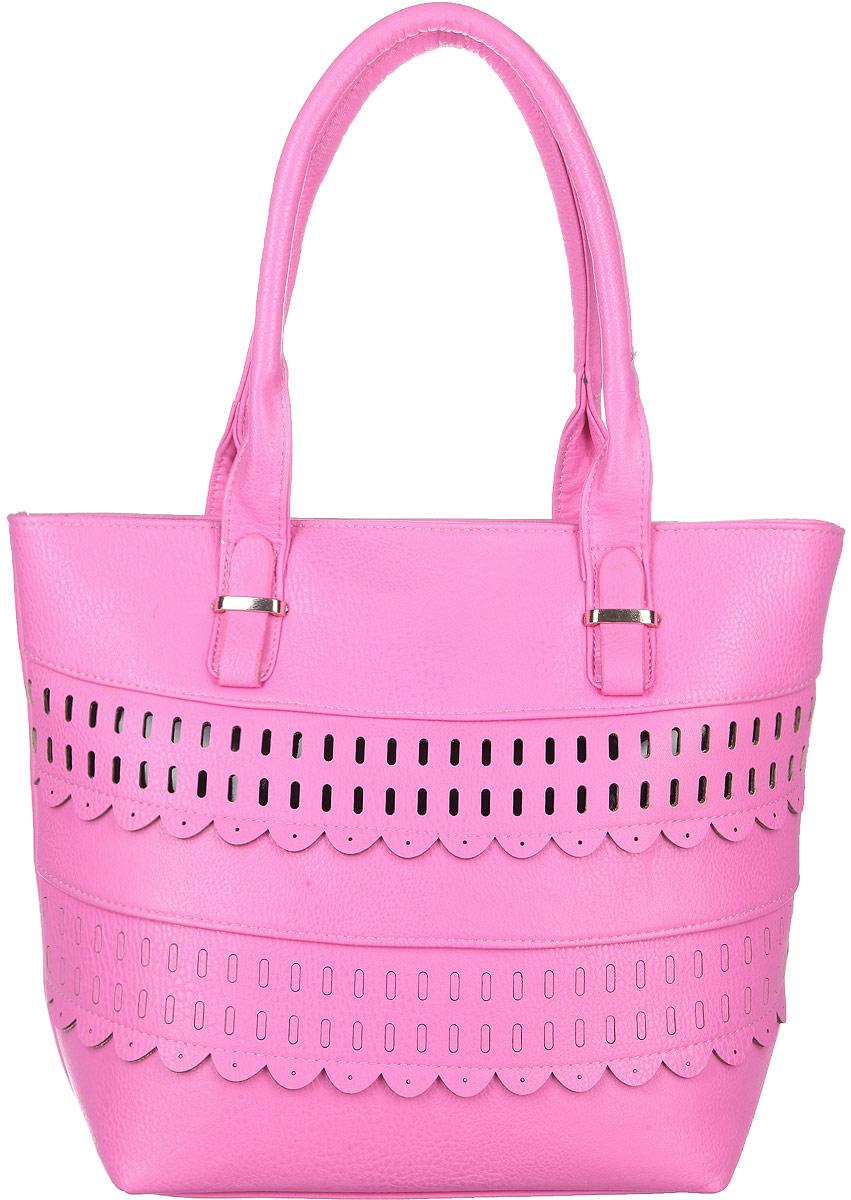 Сумка женская Flioraj, цвет: розовый. 0005115300051153Стильная женская сумка Flioraj, выполненная из искусственной кожи, оформлена декоративной перфорацией. Изделие имеет одно основное отделение, разделенное пополам карманом- средником на застежке-молнии. Закрывается сумка на застежку-молнию. Внутри находятся прорезной карман на застежке-молнии и накладной открытый карман. Снаружи, на задней стенке расположен прорезной карман на застежке-молнии. Модель оснащена двумя удобными ручками. Основание изделия защищено от повреждений металлическими ножками. Роскошная сумка внесет элегантные нотки в ваш образ и подчеркнет ваше отменное чувство стиля.