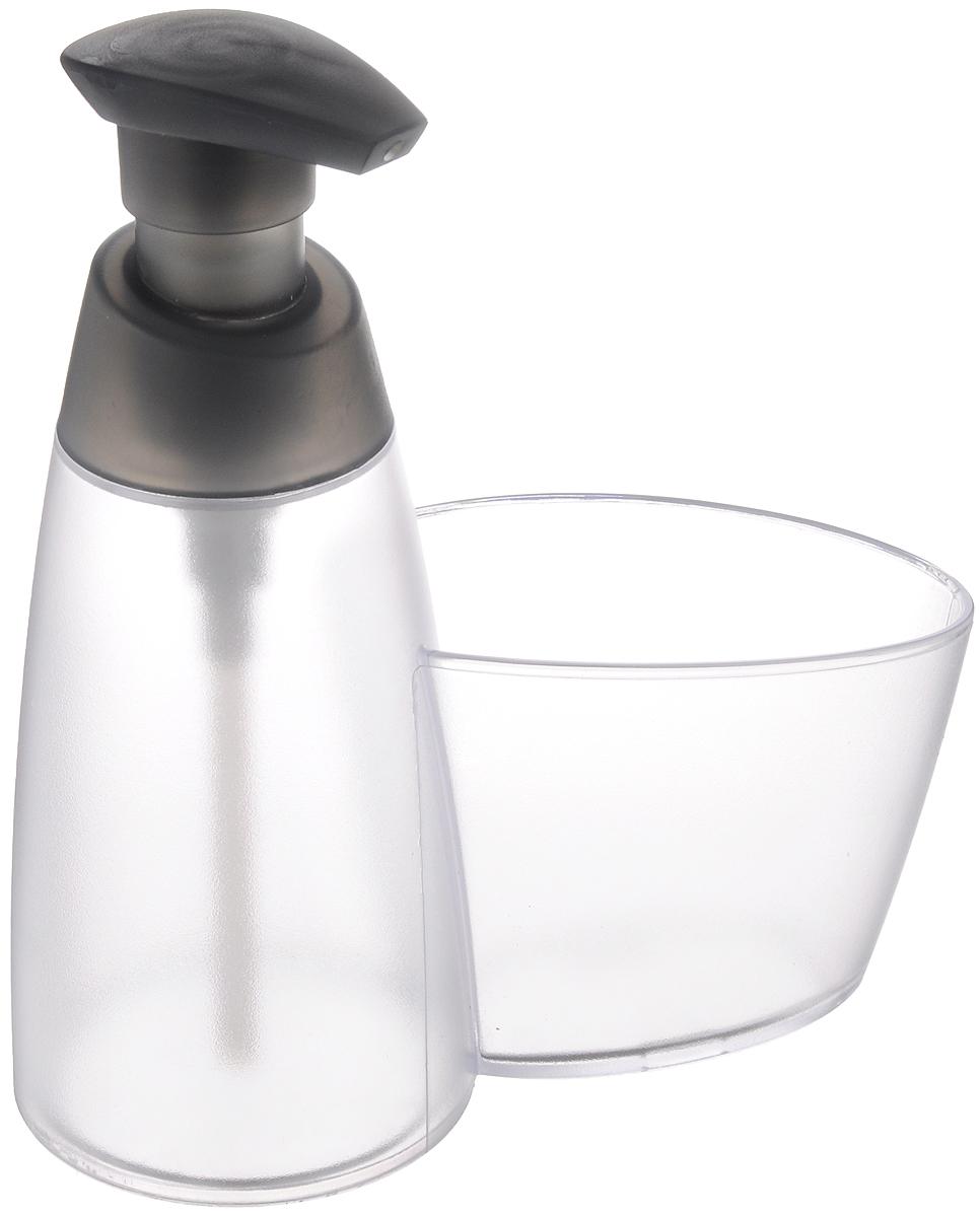Дозатор для моющего средства Tescoma Clean Kit, с подставкой для губки, цвет: прозрачный, серый, 350 мл900614_прозрачный, серыйДозатор Tescoma Clean Kit, выполненный из прочного пластика, прекрасно подходит для удобной дозировки и хранения моющих средств на кухонном гарнитуре, рядом с мойкой. Имеется подставка под губку. Можно мыть в посудомоечной машине. Высота дозатора (с учетом крышки): 18 см. Диаметр основания дозатора: 7,5 см. Размер подставки для губки: 10 х 6,5 х 8 см.