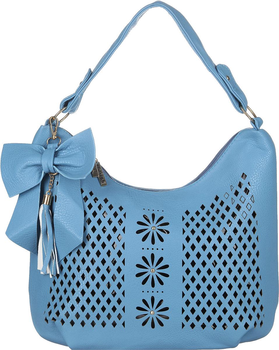 Сумка женская Flioraj, цвет: голубой, черный. 0005114400051144Стильная женская сумка Flioraj выполнена из искусственной кожи. Лицевая сторона оформлена декоративной перфорацией. Изделие имеет одно основное отделение, разделенное пополам карманом-средником на застежке-молнии. Закрывается изделие на застежку-молнию. Внутри находятся прорезной карман на застежке-молнии и накладной открытый карман. Снаружи, на задней стенке расположен прорезной карман на застежке-молнии. Модель оснащена одной ручкой и дополнена съемным декоративным брелоком в виде бантика с кисточкой. Основание изделия защищено от повреждений металлическими ножками. Роскошная сумка внесет элегантные нотки в ваш образ и подчеркнет ваше отменное чувство стиля.
