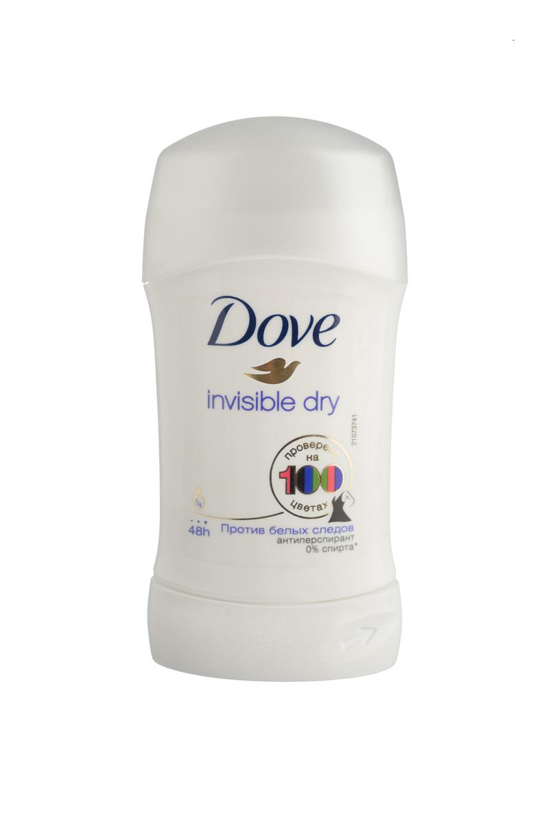 Dove Антиперспирант карандаш Невидимый 40 мл21132385Антиперсипрант Dove Невидимый - обеспечивает защиту от пота на 48 часов и на 1/4 состоит из особенного увлажняющего крема, который способствует восстановлению кожи после бритья, делая ее более гладкой и нежной - благодаря рецептуре с полупрозрачными микрочастицами способствует защите от белых следов