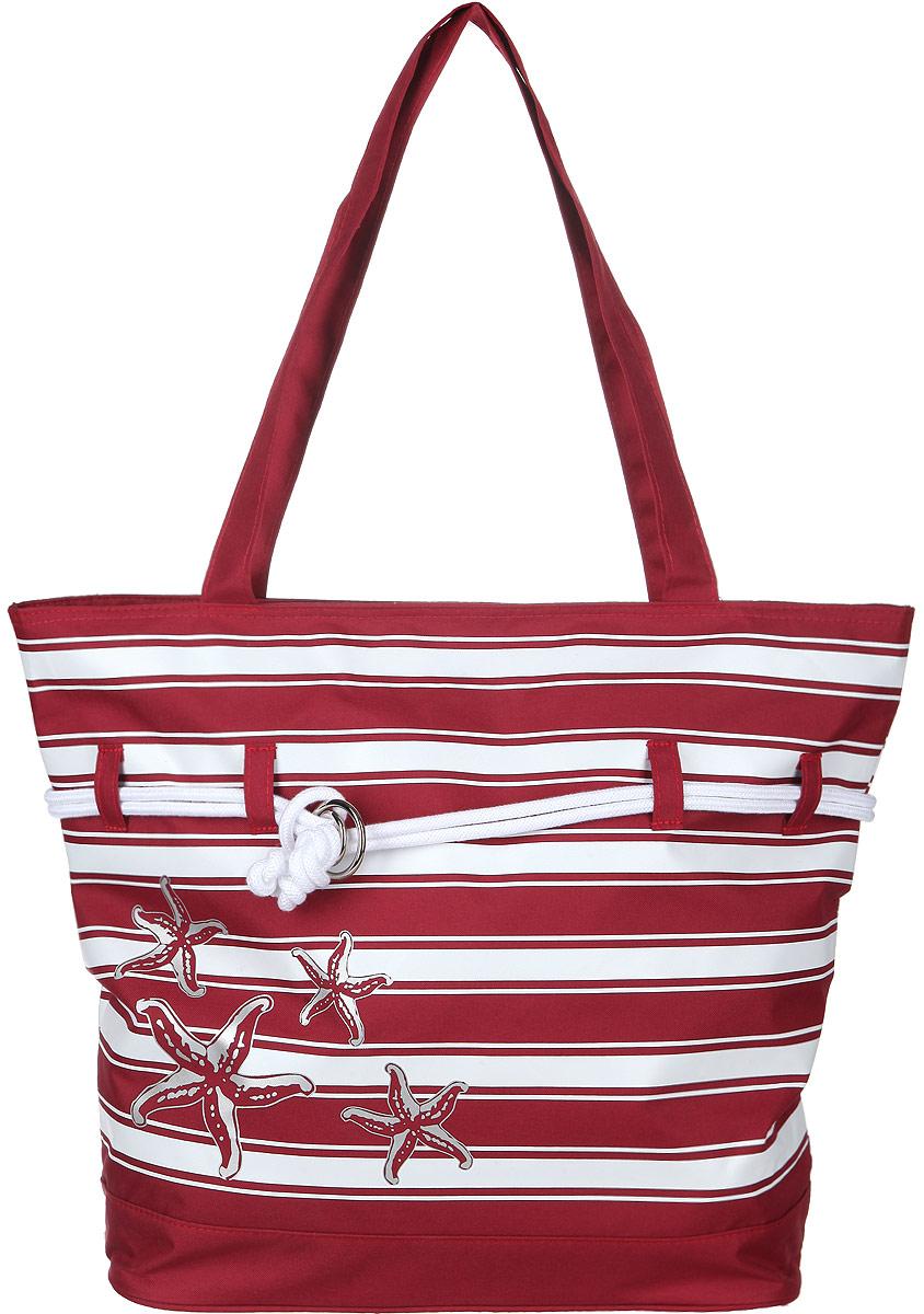 Сумка женская Fabretti, цвет: бордовый, белый. 5012050120Оригинальная женская сумка Fabretti, выполненная из полиэстера в морском стиле, оформлена принтом в полоску и изображением морских звезд. Вдоль сумки проходят текстильные шнурки, соединенные металлическими кольцами. Изделие имеет одно основное отделение, которое закрывается на застежку-молнию. Внутри находятся нашивной карман на застежке-молнии и накладной открытый карман. Модель оснащена двумя длинными ручками, которые позволяют носить изделие, как на запястье, так и на плече. Роскошная сумка внесет элегантные нотки в ваш образ и подчеркнет ваше отменное чувство стиля.