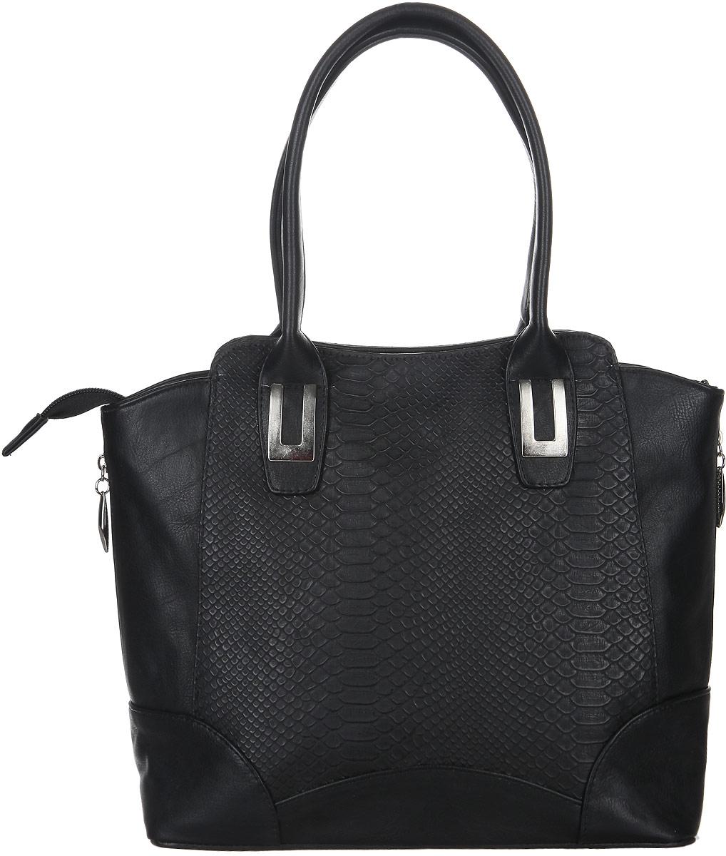 Сумка женская Leighton, цвет: черный. 635635 чернСтильная женская сумка Leighton выполнена из искусственной кожи и дополнена вставками из искусственной кожи с тиснением под крокодила. Изделие имеет одно основное отделение, разделенное пополам карманом-средником на застежке-молнии. Закрывается изделие на застежку-молнию. Внутри находятся нашивной карман на застежке-молнии и два накладных открытых кармана. Снаружи, на задней стенке расположен прорезной карман на застежке-молнии. Модель оснащена двумя удобными ручками. В комплект входит съемный плечевой ремень. По бокам модель оформлена декоративными молниями. Роскошная сумка внесет элегантные нотки в ваш образ и подчеркнет ваше отменное чувство стиля.