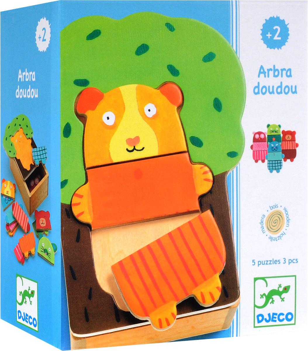 Djeco Пазл для малышей Деревянные зверюшки01681Пазл для малышей Djeco Деревянные зверюшки - первый пазл для вашего малыша. Яркая игра для самых маленьких. Ребенку необходимо собрать из трех деревянных деталей мишек в разных цветных костюмчиках. Игрушка развивает мелкую моторику ребенка, логическое мышление, навык сопоставления цветов.