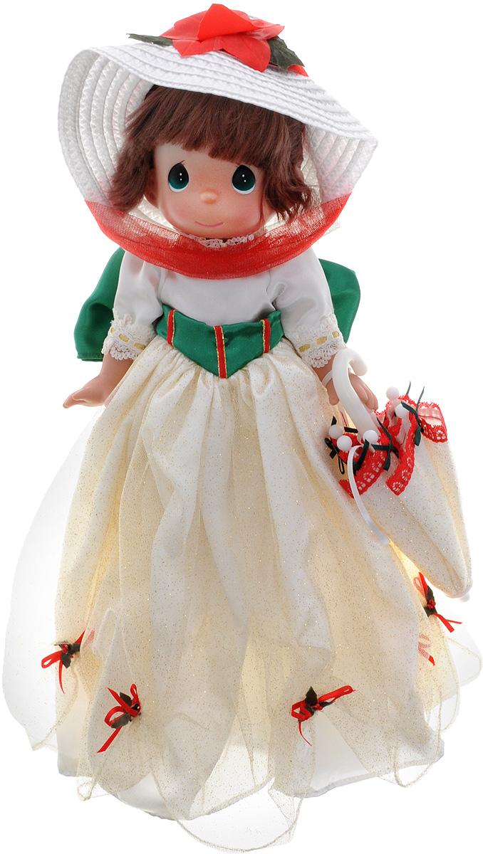 Precious Moments Кукла Мэри Поппинс5409Коллекция кукол Precious Moments ростом выше 30 см насчитывает на сегодняшний день более 600 видов. Куклы изготавливаются из качественного, безопасного материала и имеют пять базовых точек артикуляции. Каждый год в коллекцию добавляются все новые и новые модели. Каждая кукла имеет свой неповторимый образ и характер. Она может быть подарком на память о каком-либо событии в жизни. Куклы выполнены с любовью и нежностью, которую дарит нам известная волшебница - создатель кукол Линда Рик! Коллекционная кукла Мэри Поппинс с темными волосами одета в атласное платье бежевого цвета с блестками, украшенное сзади большим зеленым бантом. На голове - элегантная соломенная шляпка, декорированная красным текстильным цветком. У куклы милое личико с большими изумрудными глазами. Вся одежда съемная. В комплекте с куклой идет непременный атрибут Мэри Поппинс - зонтик, выполненный в едином стиле с нарядом куклы. Вашей дочурке непременно понравится расчесывать волосы куклы, придумывая...