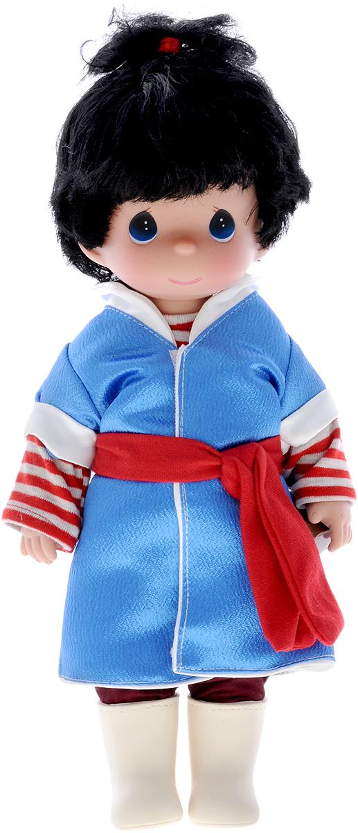 Precious Moments Кукла Альфида8416Коллекция кукол Precious Moments ростом выше 30 см насчитывает на сегодняшний день более 600 видов. Куклы изготавливаются из качественного, безопасного материала и имеют пять базовых точек артикуляции. Каждый год в коллекцию добавляются все новые и новые модели. Каждая кукла имеет свой неповторимый образ и характер. Она может быть подарком на память о каком- либо событии в жизни. Куклы выполнены с любовью и нежностью, которую дарит нам известная волшебница - создатель кукол Линда Рик! Кукла Альфида одета в полосатую кофточку и синее пальто, а на ногах - штаны и светлые сапожки. У Альфиды короткие черные волосы и большие синие глаза. Вся одежда куклы съемная. Кукла научит ребенка взаимодействовать с окружающими, а также поспособствует развитию воображения, логики и тактильного восприятия. Порадуйте свою принцессу таким великолепным подарком!