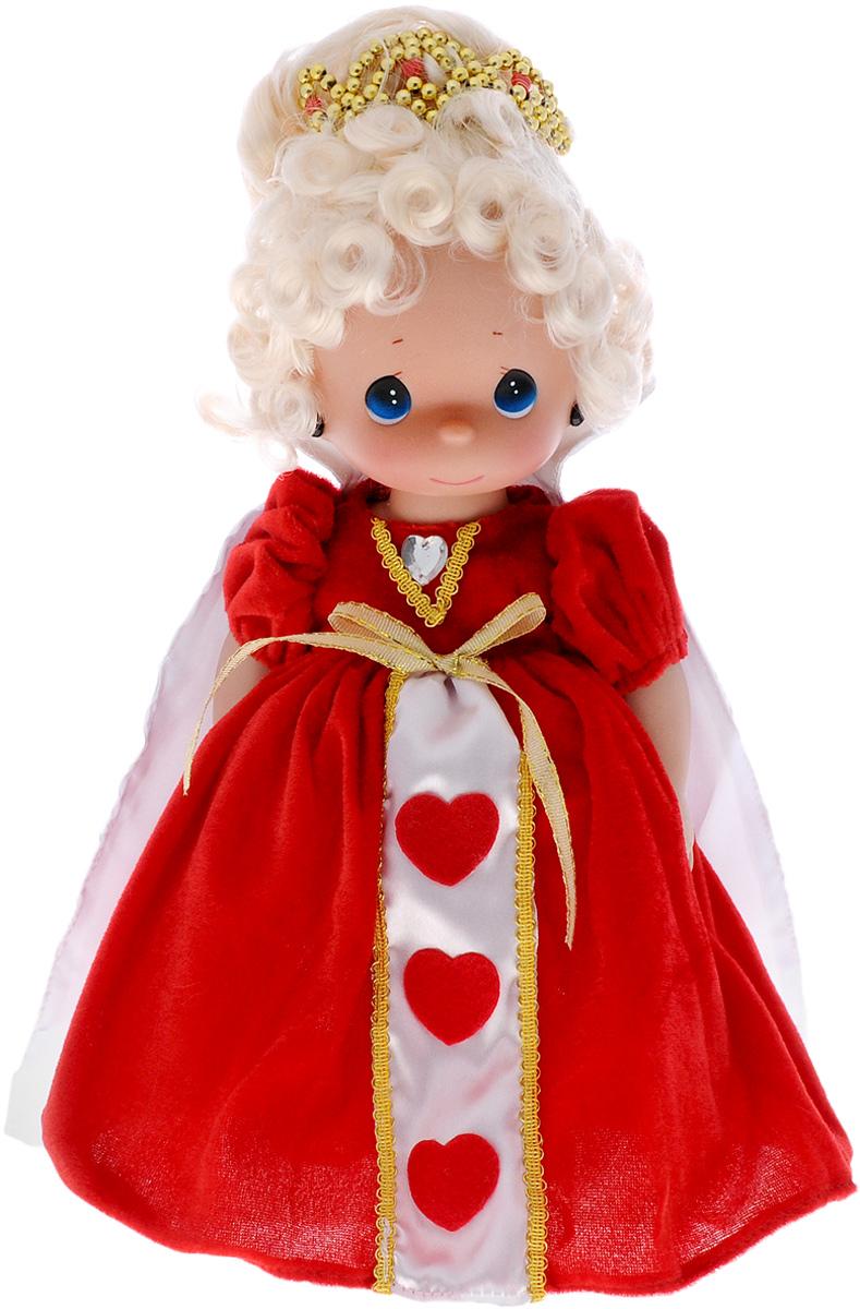 Precious Moments Кукла Королева8380Коллекция кукол Precious Moments ростом выше 30 см насчитывает на сегодняшний день более 600 видов. Куклы изготавливаются из качественного, безопасного материала и имеют пять базовых точек артикуляции. Каждый год в коллекцию добавляются все новые и новые модели. Каждая кукла имеет свой неповторимый образ и характер. Она может быть подарком на память о каком-либо событии в жизни. Куклы выполнены с любовью и нежностью, которую дарит нам известная волшебница - создатель кукол Линда Рик! Кукла Королева одета в поистине королевское платье красного цвета, украшенное золотистой тесьмой. Светлые волосы забраны в прическу и дополнены великолепной диадемой, в ушах куклы - сережки. Одежда у куклы съемная. У девочки большие синие глаза. Игра с куклой разовьет в вашей малышке чувство ответственности и заботы. Порадуйте свою принцессу таким великолепным подарком!