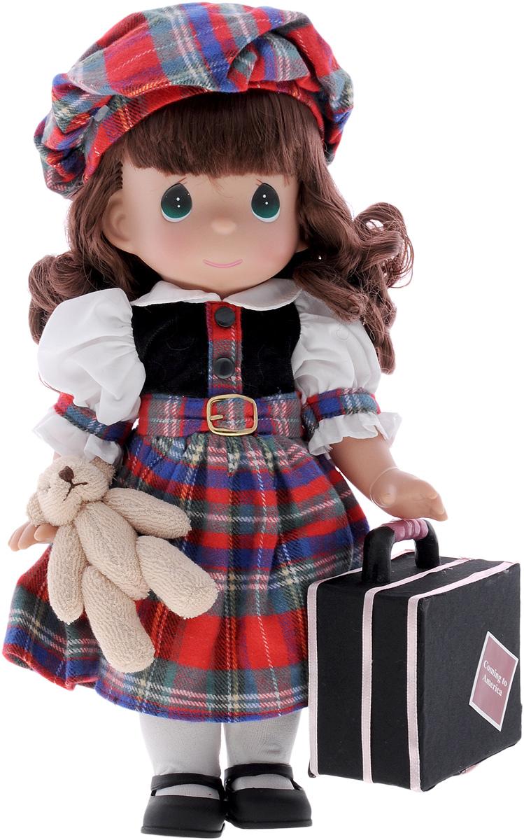 Precious Moments Кукла Путешественница Шотландия4777Коллекция кукол Precious Moments ростом выше 30 см насчитывает на сегодняшний день более 600 видов. Куклы изготавливаются из качественного, безопасного материала и имеют пять базовых точек артикуляции. Каждый год в коллекцию добавляются все новые и новые модели. Каждая кукла имеет свой неповторимый образ и характер. Она может быть подарком на память о каком-либо событии в жизни. Куклы выполнены с любовью и нежностью, которую дарит нам известная волшебница - создатель кукол Линда Рик! Коллекционная кукла Путешественница: Шотландия с темными волосами одета в клетчатое платье с белыми рукавами. На голове - клетчатый берет. У куклы милое личико с большими изумрудными глазами. Вся одежда съемная. В комплекте с куклой идет ее игрушка - маленький плюшевый мишка, а также большой чемодан. Вашей дочурке непременно понравится расчесывать волосы куклы, придумывая различные прически. Кукла научит ребенка взаимодействовать с окружающими, а также поспособствует развитию...