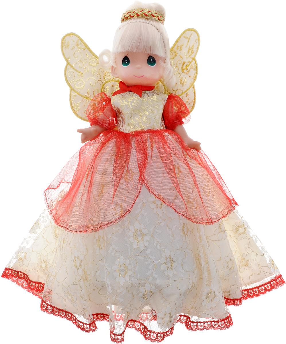 Precious Moments Кукла-украшение4696Коллекция кукол Precious Moments насчитывает на сегодняшний день более 600 видов. Куклы изготавливаются из качественного, безопасного материала и имеют несколько базовых точек артикуляции. Каждый год в коллекцию добавляются все новые и новые модели. Каждая кукла имеет свой неповторимый образ и характер. Она может быть подарком на память о каком-либо событии в жизни. Куклы выполнены с любовью и нежностью, которую дарит нам известная волшебница - создатель кукол Линда Рик! Коллекционная кукла-украшение для рождественской ели со светлыми волосами одета в пышное золотисто-бежевое платье с красной сеточкой, цветочной вышивкой и крылышками на спине. Нижняя половина тела куклы выполнена в виде конуса, что позволяет украсить верхушку рождественского дерева. Волосы куклы украшены золотисто-красным обручем. Вся одежда съемная. Вашей дочурке непременно понравится расчесывать волосы куклы, придумывая различные прически. Кукла станет отличным подарком для девочки, великолепным...