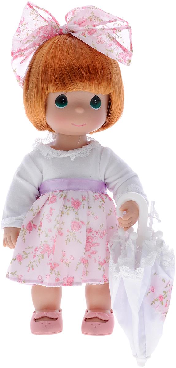 Precious Moments Кукла с зонтиком цвет волос рыжий4784Коллекция кукол Precious Moments ростом выше 30 см насчитывает на сегодняшний день более 600 видов. Куклы изготавливаются из качественного, безопасного материала и имеют пять базовых точек артикуляции. Каждый год в коллекцию добавляются все новые и новые модели. Каждая кукла имеет свой неповторимый образ и характер. Она может быть подарком на память о каком- либо событии в жизни. Куклы выполнены с любовью и нежностью, которую дарит нам известная волшебница - создатель кукол Линда Рик! Кукла с зонтиком Precious Moments обязательно привлечет внимание вашей малышки и не позволит ей скучать. Куколка одета в нарядное платье, на ножках - розовые ботиночки. Дополнением к прическе служит текстильный бантик. В наборе с куклой имеется зонтик. Одежда съемная. Кукла научит ребенка взаимодействовать с окружающими, а также поспособствует развитию воображения, логики и тактильного восприятия.