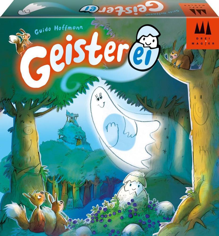Drei Magier Настольная игра Geisterei40871Настольная игра Drei Magier Geisterei - занимательная игра, предназначенная для детей от шести лет. Соберите игровое поле. Установите куст голубики в пяти шагах от игрового поля и разместите на нем яйцо. Разложите карточки с изображением яиц в ячейки игрового поля. Остальные карточки положите стопкой рядом с полем. Каждый игрок должен взять себе гнездо, в которое ему предстоит собрать как можно быстрее 6 яиц. Теперь, по очереди бросая кубик, каждый из игроков превращается в привидение по имени Шарлотта. Он должен подхватить яйцо платьем Шарлотты и перенести его из куста на поле, не уронив по пути и выполнив действие, которое выпало на кубике. Дается всего три попытки! Карточка, на которую Шарлотта снесла яйцо достается игроку. На ее место кладется новая из колоды. Игра заканчивается, как только у одного из игроков гнездо заполнено. Победил тот, у кого больше нарисованных на карточках яиц. В игре могут принимать участие от двух до четырех игроков....