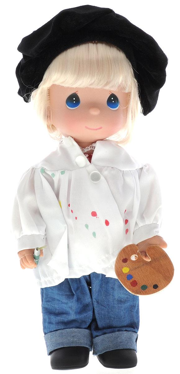 Precious Moments Кукла Художница блондинка4726Коллекция кукол Precious Moments ростом выше 30 см насчитывает на сегодняшний день более 600 видов. Куклы изготавливаются из качественного, безопасного материала и имеют пять базовых точек артикуляции. Каждый год в коллекцию добавляются все новые и новые модели. Каждая кукла имеет свой неповторимый образ и характер. Она может быть подарком на память о каком-либо событии в жизни. Куклы выполнены с любовью и нежностью, которую дарит нам известная волшебница - создатель кукол Линда Рик! Кукла Художница выглядит как настоящий мастер. Она одета в джинсы и белую рубашку со следами краски. Образ художника дополняет черный берет. У куклы светлые волосы и большие синие глаза. У девочки имеется своя палитра и кисть для рисования. Игра с куклой разовьет в вашей малышке чувство ответственности и заботы. Порадуйте свою принцессу таким великолепным подарком!