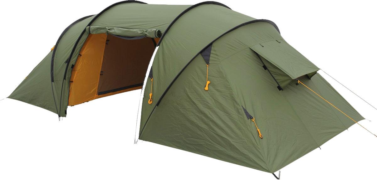 Палатка Сплав Pride 4, цвет: зеленый5053950Сплав Pride 4 - это классическая кемпинговая палатка с двумя спальными отделениями и общим тамбуром. Палатка и тент изготовлены из прочного полиэстера. Высота позволяет перемещаться внутри палатки в полный рост. Входы в палатку продублированы противомоскитной сеткой. На торцевых поверхностях спальных отделений большие функциональные вентиляционные окна. Палатка снабжена отдельным полом для тамбура и большим количеством оттяжек для натяжения в ветреную погоду. Швы тента и дна проклеены. Количество мест: 4. Количество дуг: 3 шт. Размеры внешней палатки, тента: 410 х 220 х 140 см. Размеры спального места: 210 х 135 х 130 см. Размеры в упакованном виде: 70 х 35 х 18 см. Полный вес: 9,24 кг. Минимальный вес (без чехла и колышков): 7,85 кг.