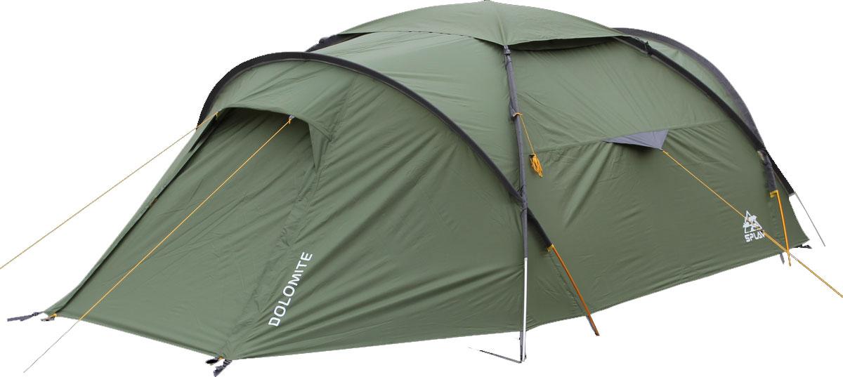 Палатка Сплав Dolomite 4, цвет: хаки5055700Сплав Dolomite 4 - это универсальная палатка на внешних дугах с большим внутренним объёмом и высокой ветроустойчивостью. Дуги изготовлены из алюминиевого сплава, а палатка и тент из прочного полиэстера. Конструкция изделия позволит легко и быстро установить палатку в неблагоприятных погодных условиях. Тент и палатка могут устанавливаться одновременно. Возможна установка отдельно тента без внутренней палатки. Изделие имеет два входа и два тамбура. Вентиляционные отверстия над внутренней палаткой можно открывать и закрывать, не выходя из палатки. Палатка снабжена множеством карманов. Имеется съемная подвесная полка. Швы тента и дна проклеены. Веревки оттяжек имеют вплетенную светоотражающую нить. Количество мест: 4. Количество дуг: 4 шт. Размеры внешней палатки, тента: 450 х 240 х 130 см. Размеры спального места: 240 х 220 х 120 см. Размеры в упакованном виде: 55 х 25 х 25 см. Полный вес: 6,05 кг. Минимальный вес (без чехла и колышков): 5,65 кг.