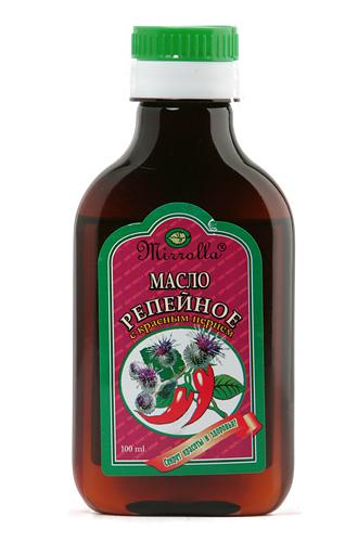 Репейное масло с красным перцем 100мл4650001790309Репейное масло – издавна почиталось на Руси, как надежное средство от выпадения волос и облысения. Масло содержит природный инулин, богатый комплекс витаминов, протеин, жирные кислоты, дубильные вещества и минеральные соли. Перец красный (жгучий) усиливает микроциркуляцию крови, способствуя быстрой доставке полезных компонентов репейника непосредственно к волосяным луковицам. - Усиливает кровообращение вокруг волосяных луковиц; - укрепляет корни волос; - стимулирует рост волос; - насыщает корни волос витаминами; - останавливает выпадение волос.
