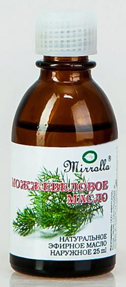Масло эфирное Мирролла Можжевельник 25мл4650001791191Эфирное масло Можжевельника - Повышает упругость кожи, ликвидирует ее дряблость, вялость; делает волосы более сильными, придает им блеск; обладает антицеллюлитным действием