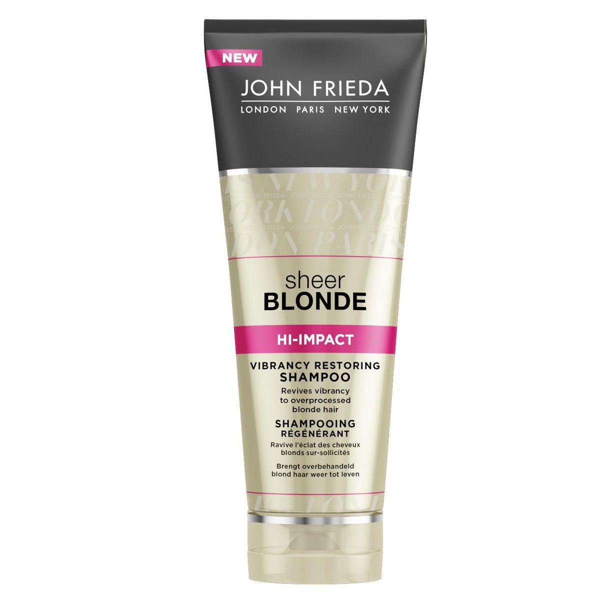 John Frieda Восстанавливающий шампунь для сильно поврежденных волос Sheer Blonde HI-IMPACT 250 млjf213110Возвращает жизненную силу сильно осветленным и поврежденным волосам. Оживляет поврежденные окрашиванием и укладкой светлые волосы. Восстанавливающий шампунь интенсивного действия для осветленных и поврежденных волос обновляет структуру волос, возвращает им здоровый вид и яркий оттенок. Омолаживает и реставрирует истонченные участки поврежденных волос.